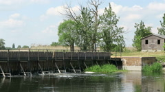 Needle weir at Havel river in summer. Brandenburg - Germany Stock Footage