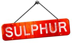 sulphur, 3D rendering, a red hanging sign - stock illustration