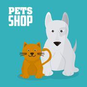 Pet shop with cat and dog design, Vector illustration Stock Illustration