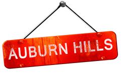 auburn hills, 3D rendering, a red hanging sign - stock illustration