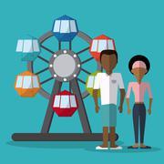 Circus wheel design - stock illustration