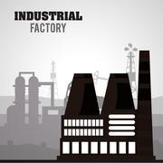 Industrial factory design, Vector illustration - stock illustration
