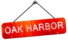 oak harbor, 3D rendering, a red hanging sign - stock illustration