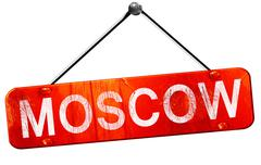 Moscow, 3D rendering, a red hanging sign Stock Illustration