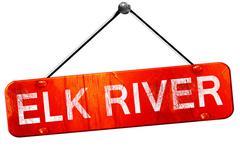 Elk river, 3D rendering, a red hanging sign Stock Illustration