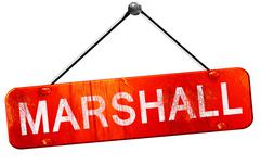 marshall, 3D rendering, a red hanging sign - stock illustration