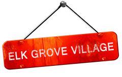 elk grove village, 3D rendering, a red hanging sign - stock illustration
