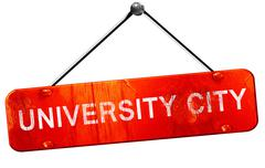 university city, 3D rendering, a red hanging sign - stock illustration