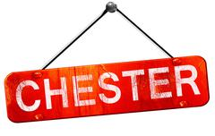 Chester, 3D rendering, a red hanging sign Stock Illustration