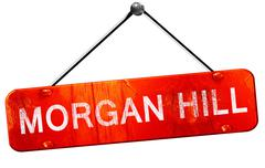 morgan hill, 3D rendering, a red hanging sign - stock illustration