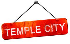 Temple city, 3D rendering, a red hanging sign Stock Illustration