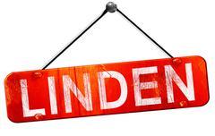 Linden, 3D rendering, a red hanging sign Stock Illustration