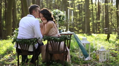 Sensual young couple in love enjoy each other during the romantic dinner in the Stock Footage