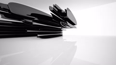 Abstract interior with glossy black sculpture. - stock footage