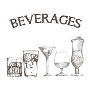 Graphic of sketch Beverages , vector illustration Stock Illustration