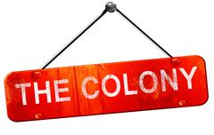 The colony, 3D rendering, a red hanging sign Stock Illustration