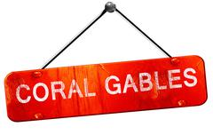 Coral gables, 3D rendering, a red hanging sign Stock Illustration
