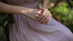Beautiful woman hands with french manicure nails close up. Young woman in Stock Footage