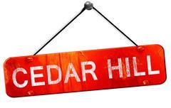 Cedar hill, 3D rendering, a red hanging sign Stock Illustration