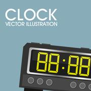 Clock icon object, time concept vector design, digital - stock illustration