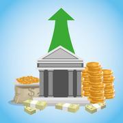 money illustration over blue background design - stock illustration