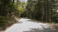 4K pov drive at mountain forest at summer,warm day - stock footage