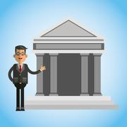Money illustration over blue background design Stock Illustration