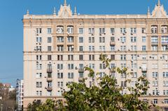 Moscow, Russia - 09.21.2015. The house of Stalinist architecture on - stock photo