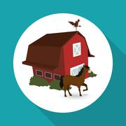 Farm design. stable icon. flat illustration , vector Stock Illustration