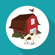 Farm design. stable icon. flat illustration , vector - stock illustration
