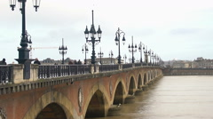 Famous Aquitaine bridge on Garonne river in France, beautiful view, cityscape Stock Footage