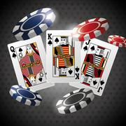 Poker design, cards and chips concept ,, casino games - stock illustration