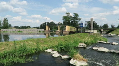 Old needle weir at Havel river in summer. Brandenburg - Germany Stock Footage