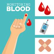 monitoring Blood design, medical and healthcare concept - stock illustration