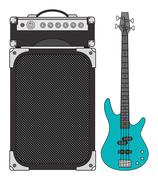 Electric Bass Guitar and Amplifier - stock illustration