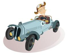 Smiling driver - stock illustration