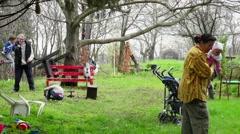 Familly enjoying spring - stock footage