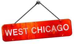 west chicago, 3D rendering, a red hanging sign - stock illustration