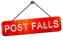 post falls, 3D rendering, a red hanging sign - stock illustration