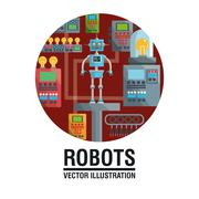 Robot design. industry concept. humanoid icon - stock illustration