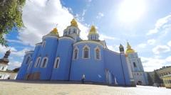 St. Michael's Golden-Domed Monastery - famous church in Kyiv, Ukraine, timelapse Stock Footage