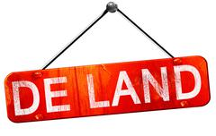 de land, 3D rendering, a red hanging sign - stock illustration