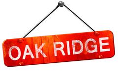 oak ridge, 3D rendering, a red hanging sign - stock illustration