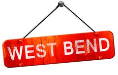 west bend, 3D rendering, a red hanging sign - stock illustration