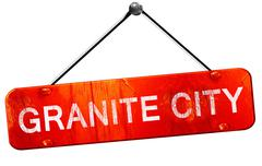granite city, 3D rendering, a red hanging sign - stock illustration