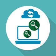 Cloud computing design. Trip icon. Flat illustration , vector - stock illustration