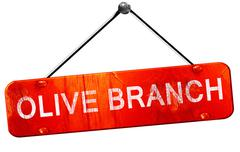 olive branch, 3D rendering, a red hanging sign - stock illustration