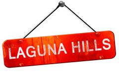 laguna hills, 3D rendering, a red hanging sign - stock illustration