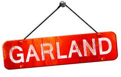 garland, 3D rendering, a red hanging sign - stock illustration
