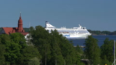 "Large sea ferry ""Silja Line"" leaves the port of Helsinki. Stock Footage"